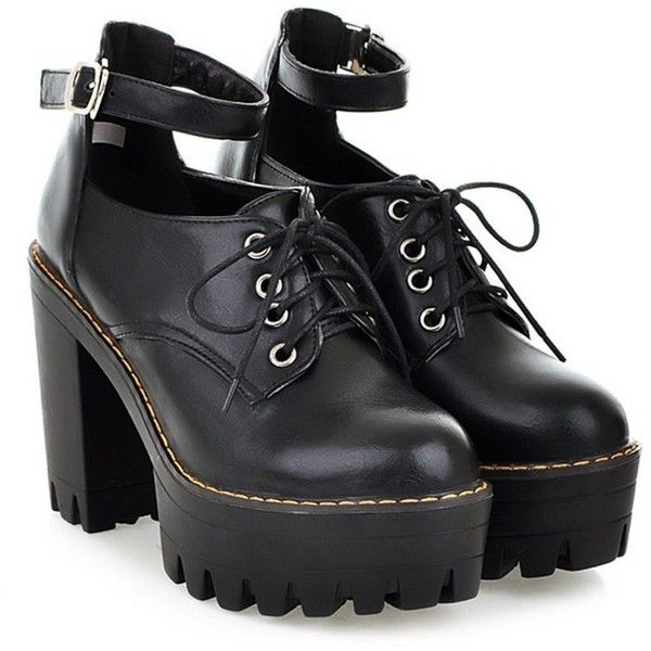 KEXIN Women Ankle Strappy Lace up Womens Chunky Block Platform Creeper... ❤ liked on Polyvore