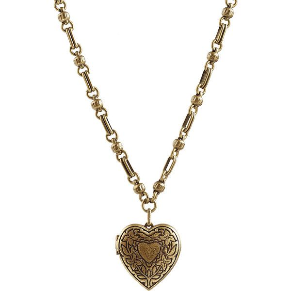 Etro Heart Locket Necklace ($380) ❤ liked on Polyvore featuring jewelry, necklaces, accessories, gold, engraved necklaces, heart shaped locket, engraved heart necklace, engraved locket and chunky necklaces