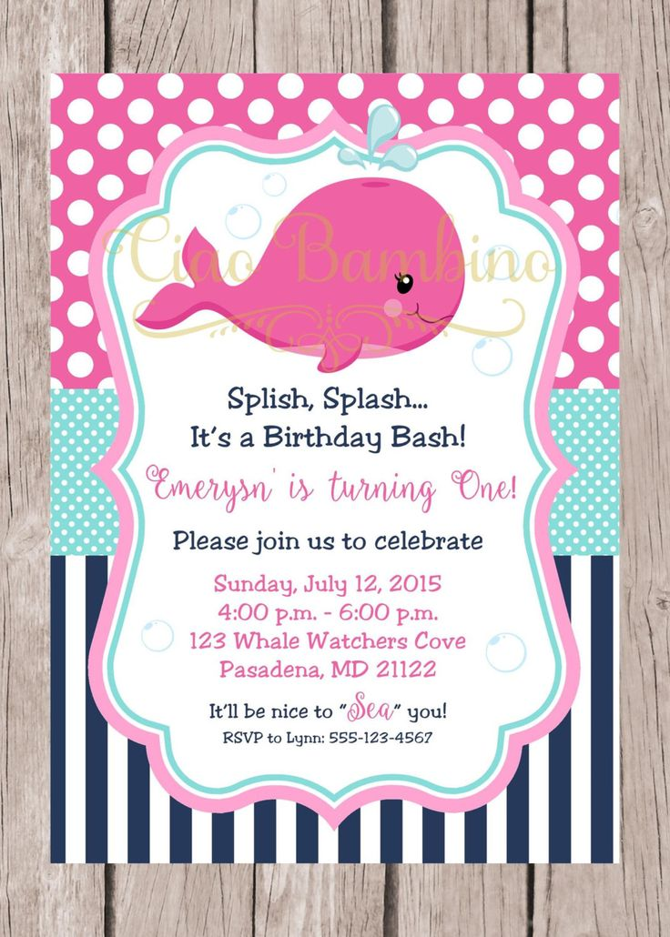 PRINTABLE Pink Whale Birthday Party Invitation / Navy Blue, Hot Pink and Aqua / Girls Whale Birthday Party Invitation / You Print - 0029 by ciaobambino on Etsy