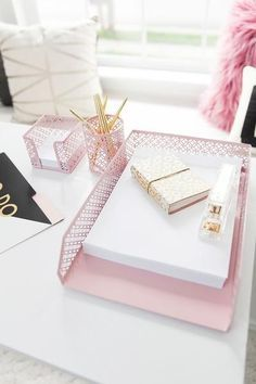 5 Piece Pink Desk Organizer Set-Mail Sorter, Sticky Note Holder, Pen Cup, Magazine Holder, Letter Tray
