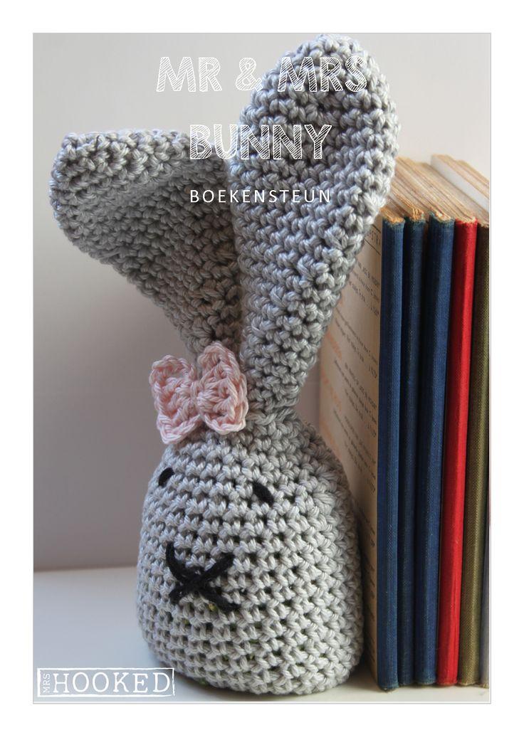 Boekensteun haasje - Yarn and Colors - Gratis haakpatroon