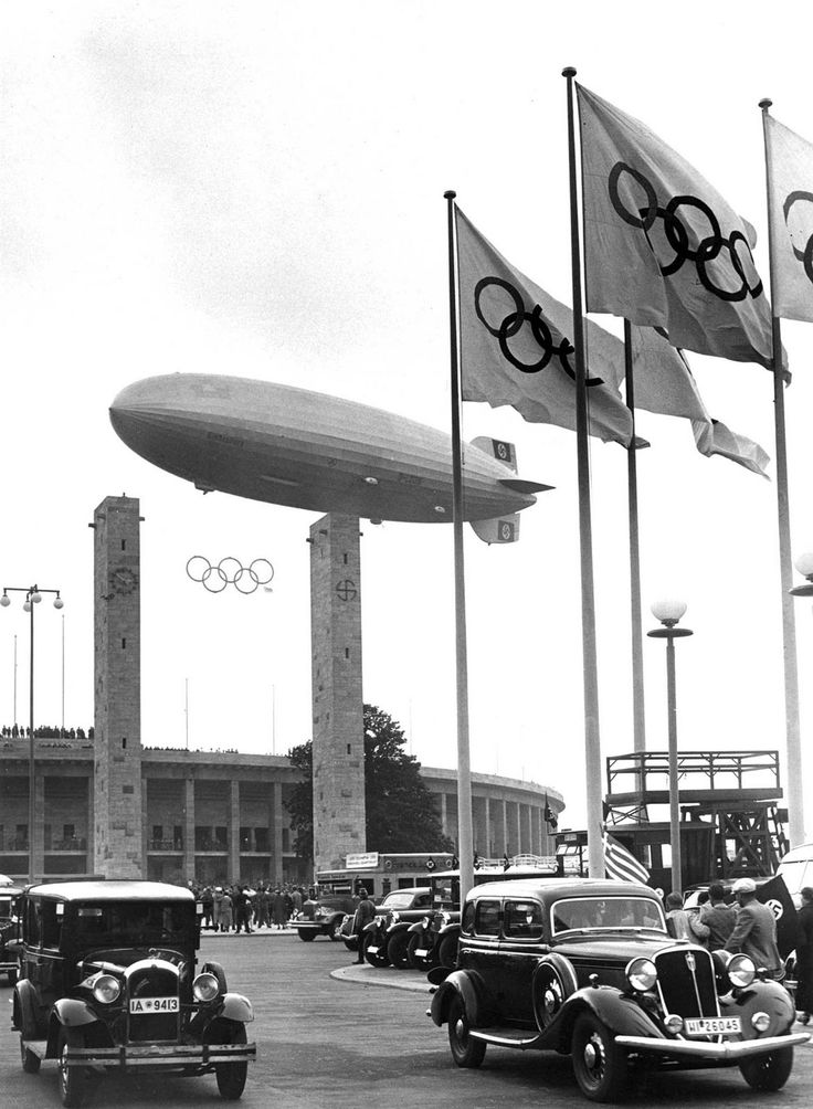 Germany. The Hindenburg floating over Berlin's Olympic Stadium during the 1936 Olympics opening ceremony.