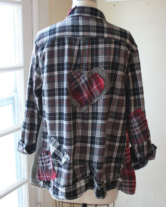 RESERVED/HOLD for Melisa- Repurposed Valentine Heart Shabby Boho Patched Flannel Shirt