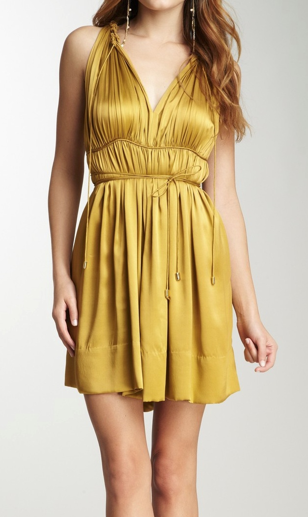 Gold Grecian Dress / unaluna, I really LOVE this color!!! And everything about this dress except how short it is lol