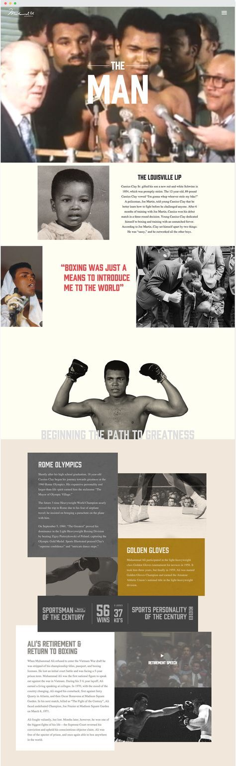 """When Muhammad Ali was the greatest boxer in the world, his style was technically adept, innovative, and visually stunning. Today he is a cultural heavyweight–still a role model, still an icon, still a champion. To help preserve that legacy, we worked with the Authentic Brands Group to build a digital testament that ensures the """"Sportsman …"""