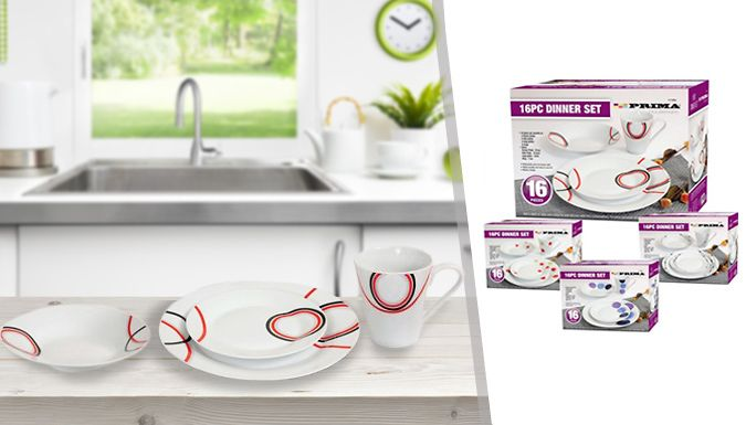 Buy 16-Piece Dinner Set - 4 Designs UK deal for just: £12.99 Add some modern design flair to meals with this16-Piece Dinner Set      Set features four dinner plates, four side plates and four soup plates      Also includes four mugs      Durable; dishwasher and microwave-safe      Modern design      Available in red and black, cream and red, a black pattern, or a blue and purple pattern     ...