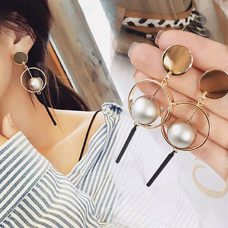 ES986 Long Earrings for Women Tassel Simulated Pearls Dangle Drop Statement Earring Fashion Jewelry Brincos