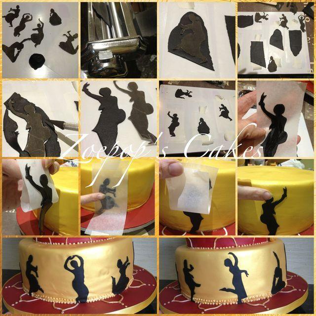 Adding Silhouettes to a cake - by Zoepop @ CakesDecor.com - cake decorating website