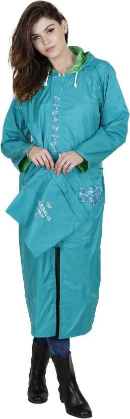 Versalis Blue Floral Print Women's Raincoat #Raincoat