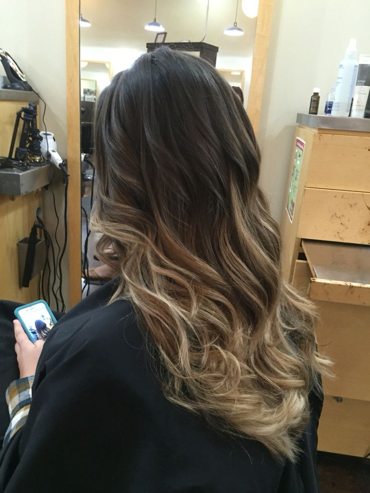 Long Hair Ombre On Dark Hair With Blonde Ends By Veronica