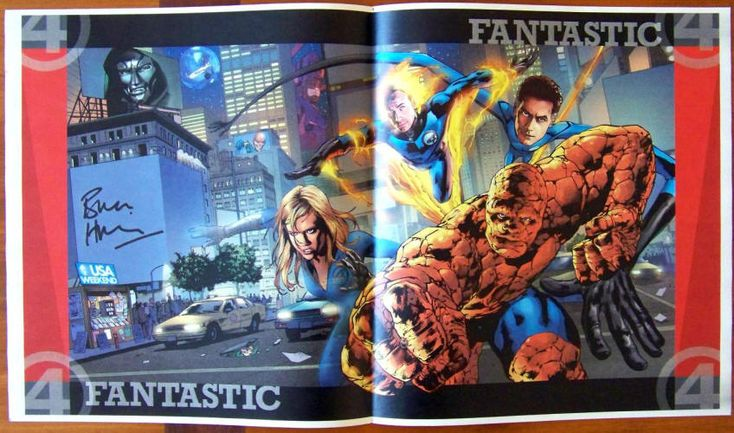 FANTASTIC FOUR (2005): 20th Century Fox, USA Weekend Magazine Centerfold Poster, July 1-3, 2005, NM, half fold, size 10.75 x 19.5 inches, full color drawing of the main cast of The Fantastic Four with the Silver Surfer, Dr. Doom, Galactus, Puppet Master, and the Mole Man hiding in the background, for Marvel Comics fans. $4