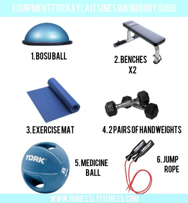 This handy graphic shows you exactly what equipment you need for the @Kayla Itsines bikini body guide workout. Print it out, pin it and share with friends! #kaylaitsines #bikinibodyworkout #workoutequipment