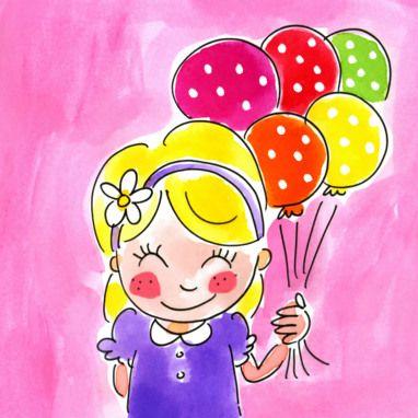 Een lief meisje met gestippelde ballonnetjes kaart