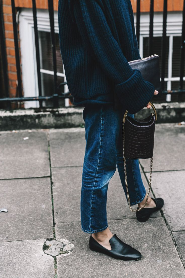 You can't go wrong with denim, loafers and oversized knit. All blue. Two bags is optional.