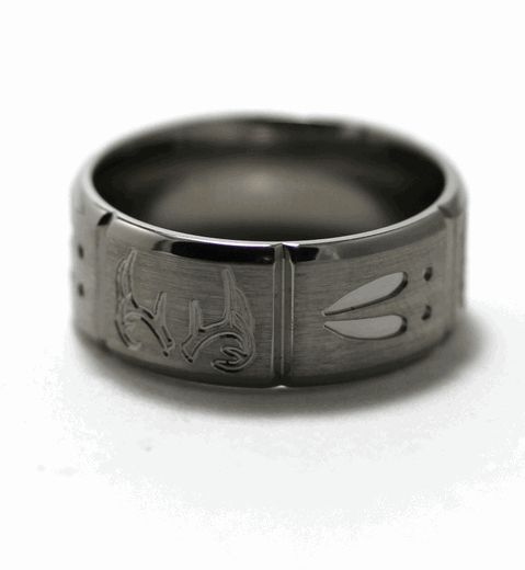 Men's Deer Track Ring | Deer Antler and Tracks Ring, Animal Track Rings - Titanium-Buzz.com