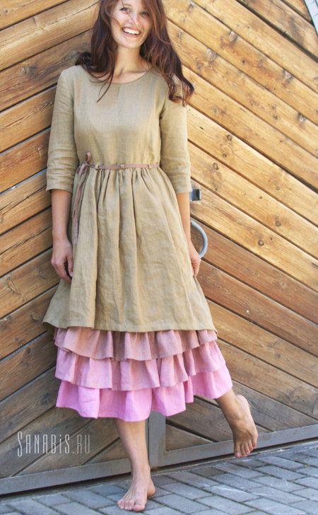 Цветология - Многослойное платье из льна «Чайная роза»