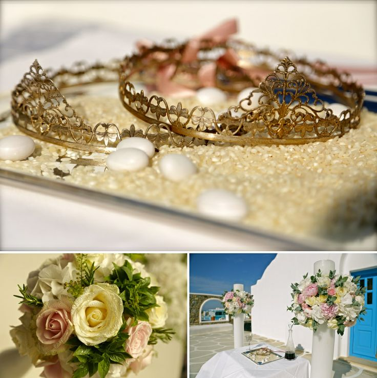 The 'crown look' wedding wreaths, the beautiful bridal bouquet and the outdoor decoration on the ceremony area!