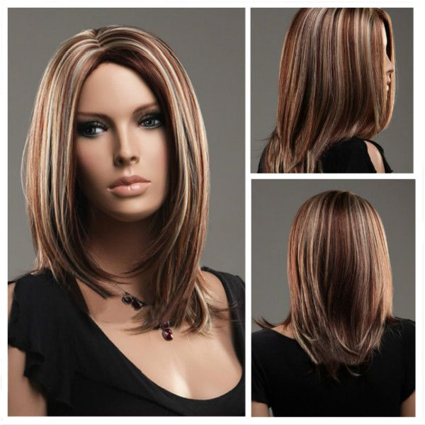 Parted Middle Highlights Color Long Straight Hair Wigs