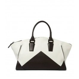 Narciso Rodriguez Black & White Geometric Zip Tote - Top Handle Tote - ShopBAZAAR