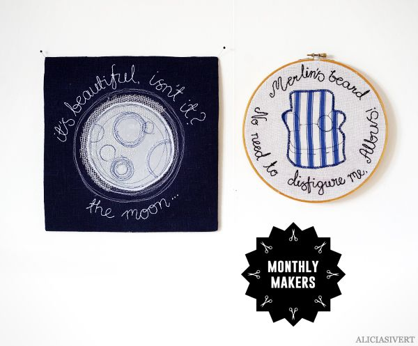 "Broderade Harry Potter-citat på Monthly Makers majtema ""magi"", av Alicia Sivertsson."