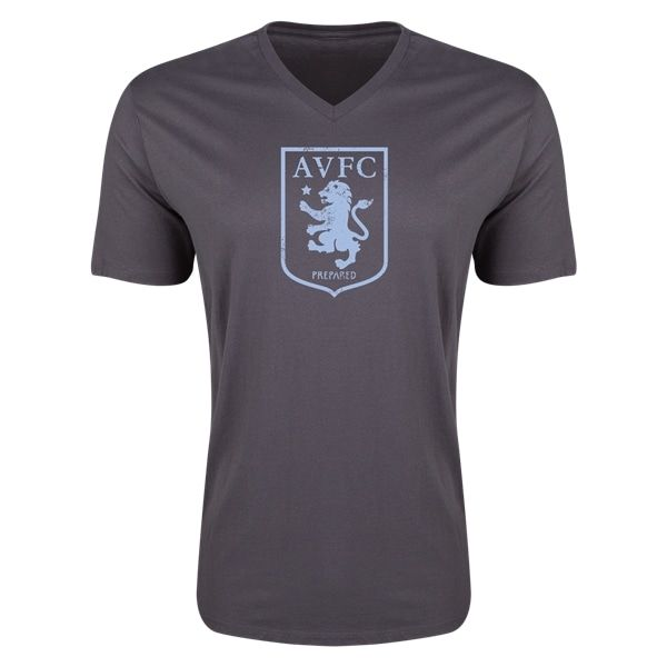 Aston Villa Distressed Club Logo Mens V-neck T-Shirt