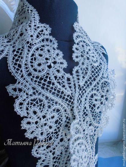 Кружевной шарфик Полынь серебристая из бледно- серого льна, легкий,нежный, воздушный . Сплетен в технике вологодского кружева, с неровным краем.Купить . Handmade.