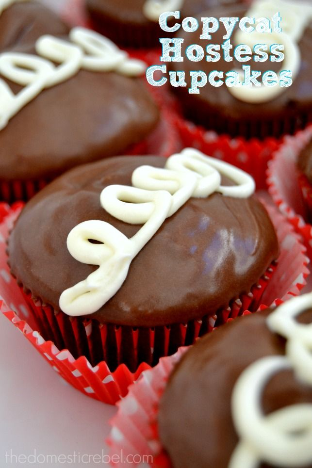 These Copycat Hostess Cupcakes taste nearly identical to the original and are SO EASY to make! You won't believe how moist, chocolaty and simple they are! #cupcakes #chocolate