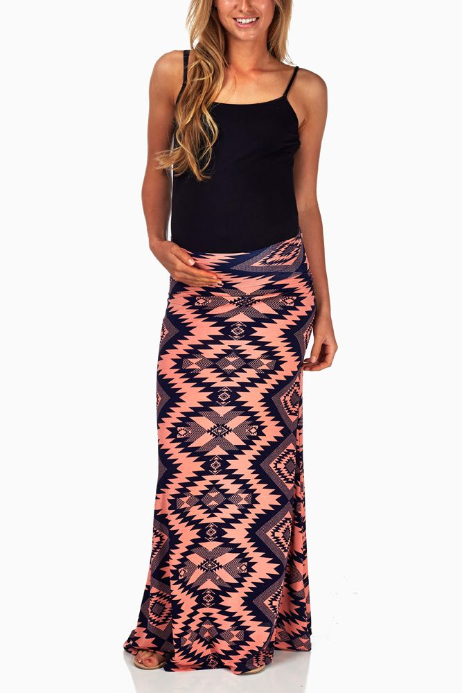 Coral-Navy-Blue-Tribal-Print-Maternity-Maxi-Skirt #maternity #fashion