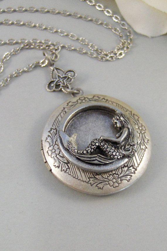 Sirens Call,Locket,Mermaid, Mermaid Locket,Antique Locket,Silver Locket,Goddess,Ocean Locket,Handmade jewelry by valleygirldesigns