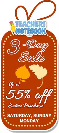 """As our way of saying """"Thank You"""" to all of our members for helping Teachers Notebook grow and supporting your fellow educators, we will take an additional 10% off each and every order that is made on Saturday, Sunday and Monday (11/24 to 11/26). With some shops running sales of up to 50% off, you could get 55% off some fantastic original teaching resources!"""