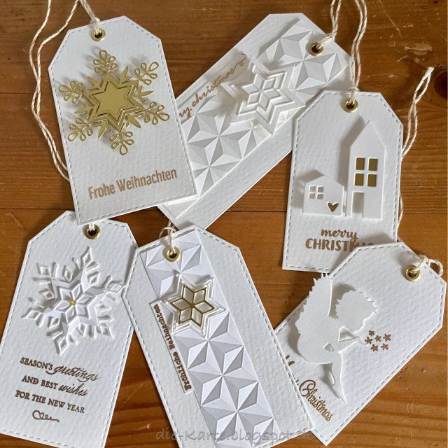 Christmas tags with Stamping & different Dies