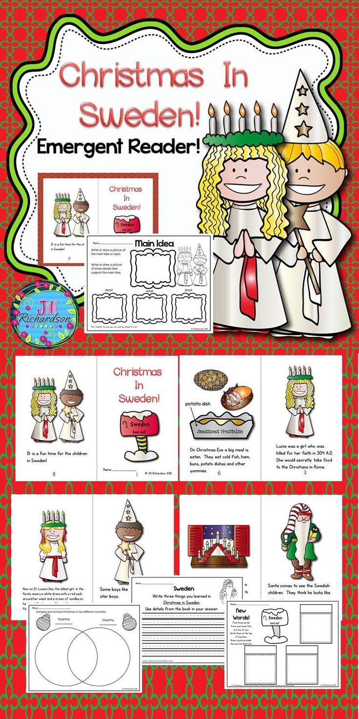 This Emergent reader will be a great addition to your book boxes in December. Christmas in Sweden is sure to be a favorite with your children! Included: 8 page booklet in color and black and white Main Idea Printable Writing Printable New Words Printable Compare and Contrast Printable
