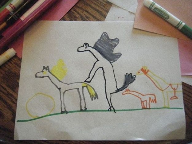 Just some horses. | Community Post: 20 Bizarre Pictures Drawn By Little Kids