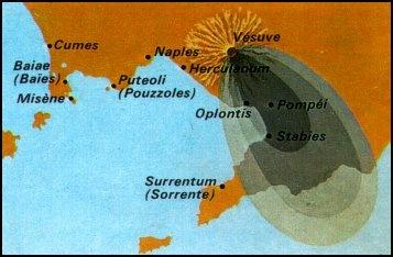 ERUPTION DU VESUVE DU 24 AOUT 79 sous le règne de Titus dynastie des Flaviens  le Vésuve , volcan jusque-là endormi, entre en éruption et ensevelit les villes d'Herculanum, de Pompéi et de Stabies, situées à ses pieds sur le golfe de Naples.