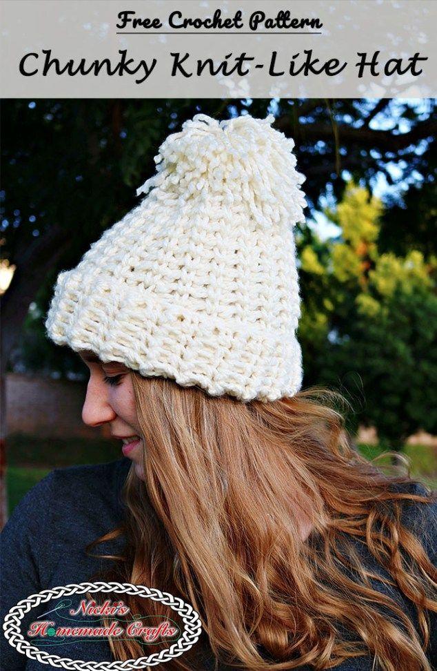 4a8dcaf2309 Chunky Knit-Like Hat - Free Crochet Pattern by Nicki s Homemade Crafts   crochet  teamUSA  chunkyhat  knitlike  hat  pompom  diy  crochet
