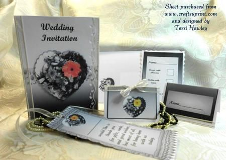 A full wedding invitation set, including , invitation, front and inside which has a choice of two insides, one you add all details, the other just a few details to add, a reply card, table name card, thank you book mark, and an Envelope.  All in the moden black and white with just a splash of colour, which is optional , and has a choice of 4 colours.