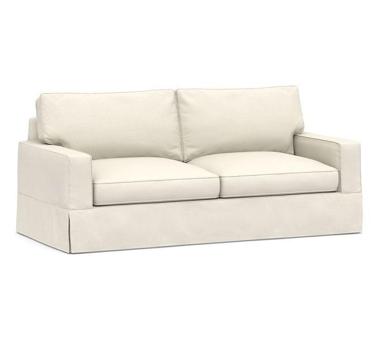 Pb Comfort Square Arm Swivel Armchair Slipcover Twill