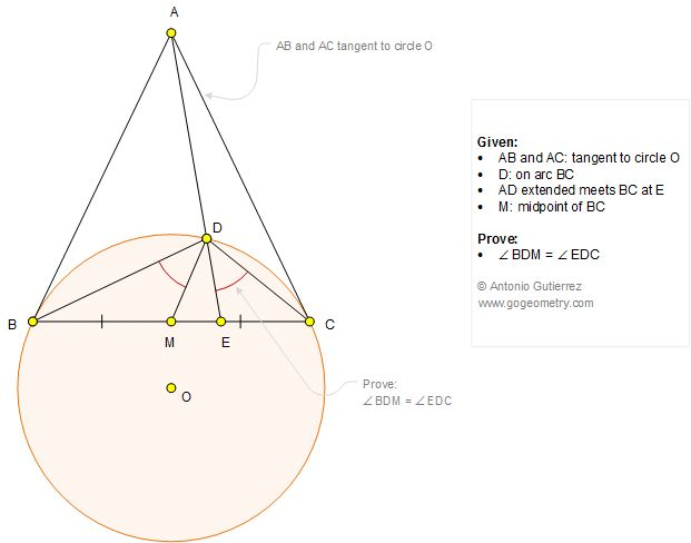 Geometry Problem 1273: Circle, Tangent, Secant, Midpoint, Isogonal Lines, Congruent Angles