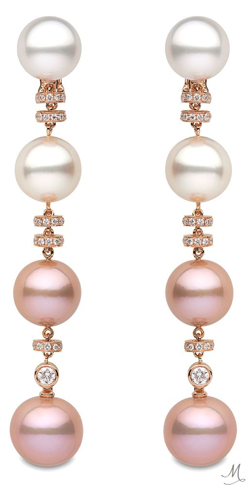 "Yoko London ""Ombre"" Pink & White Pearl Drop Earrings"