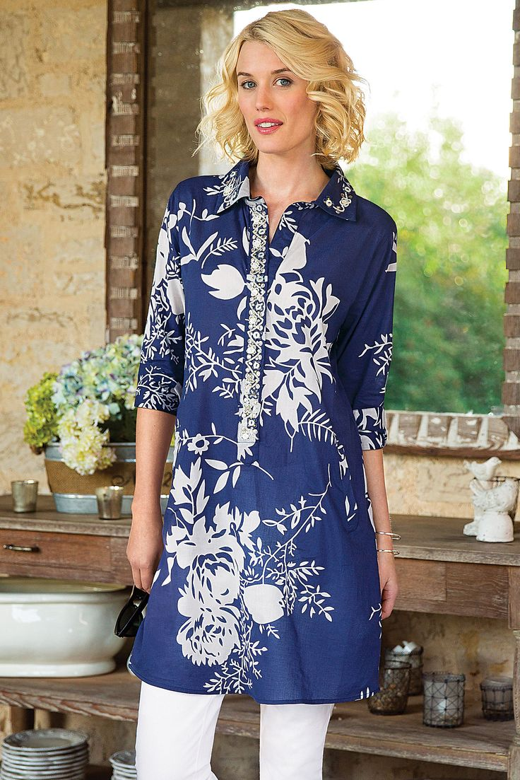 Le Jardin Tunic - One of spring's hottest prints and one of our best selling apparel items | Soft Surroundings