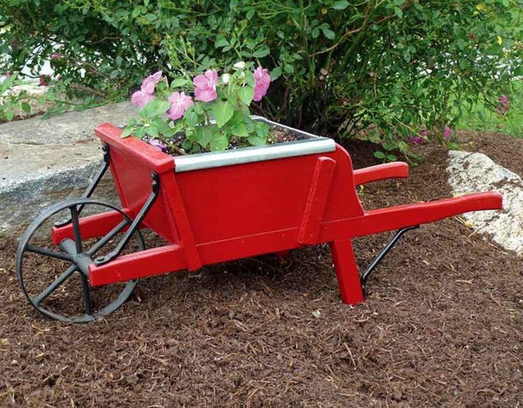 #Amish Red Mini Wooden #Wheelbarrow Planter