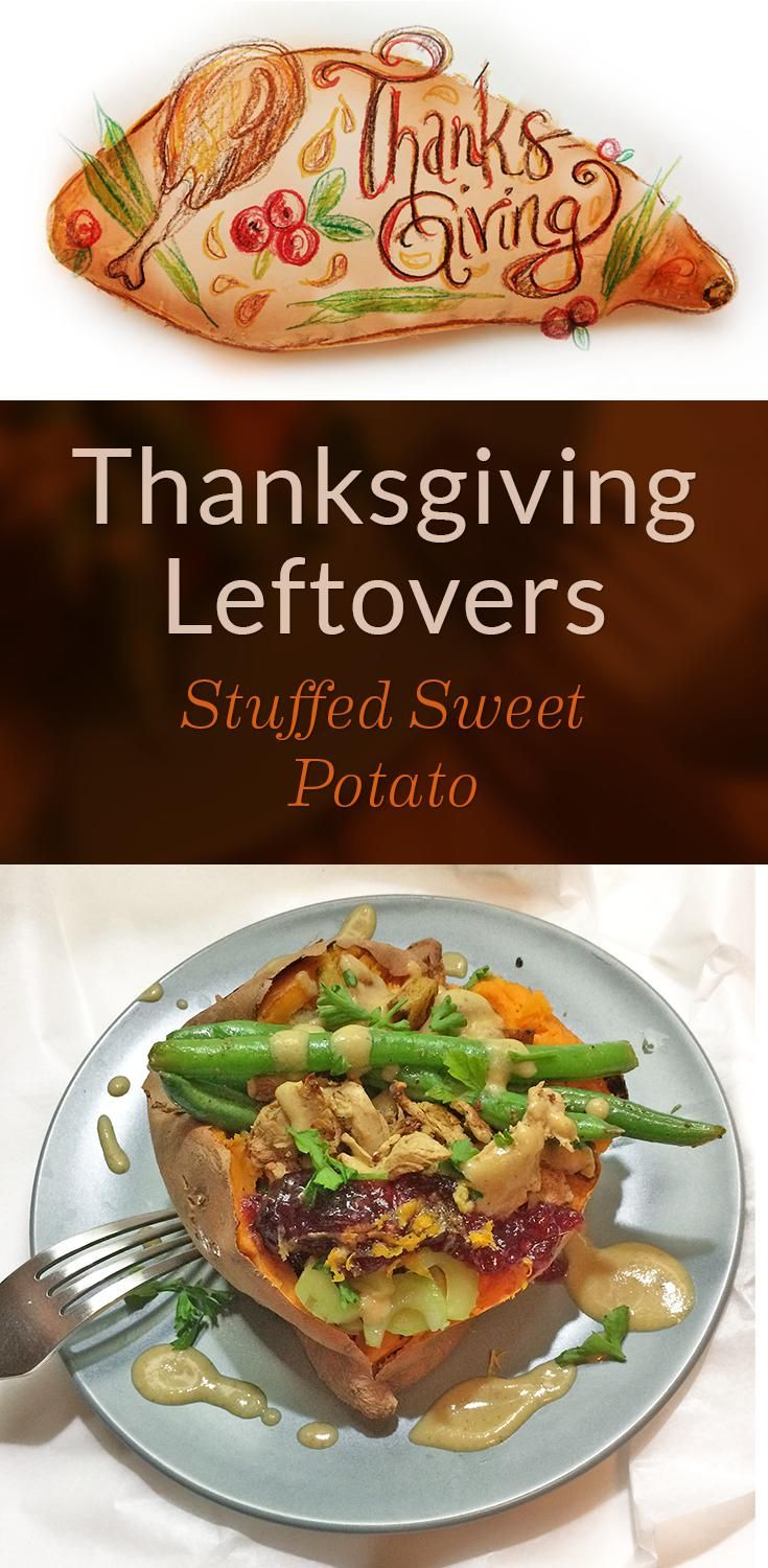 Stuffed Sweet Potato with Thanksgiving Leftovers