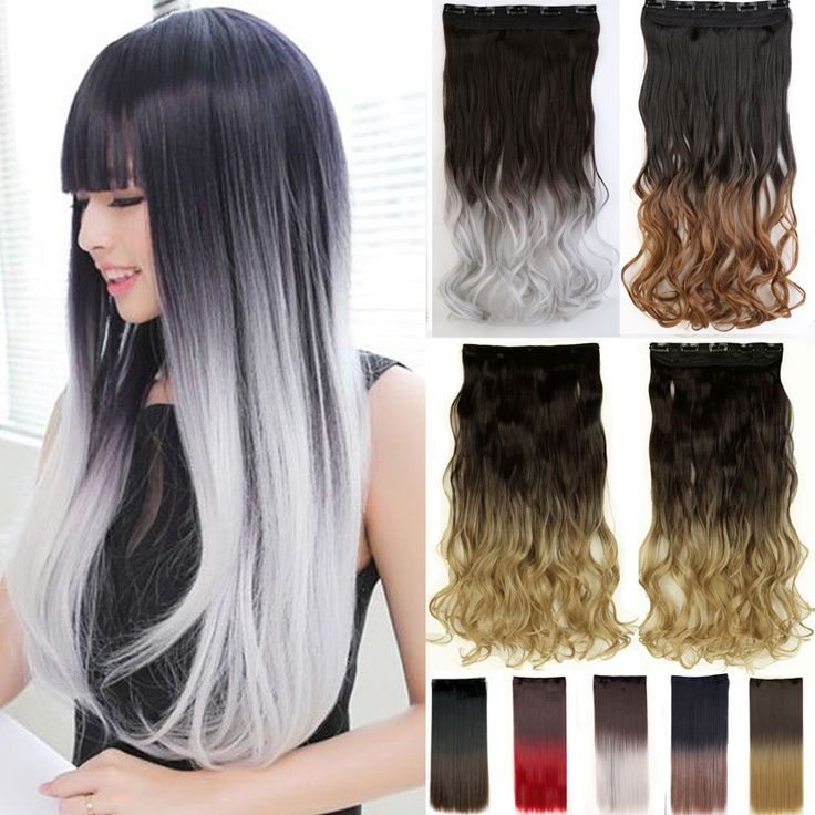 Women Fashion 25inch 62cm One Piece Clip in Hair Extention Ombre Colored Wavy Hair Extensions Black Brown Blonde Gray Red