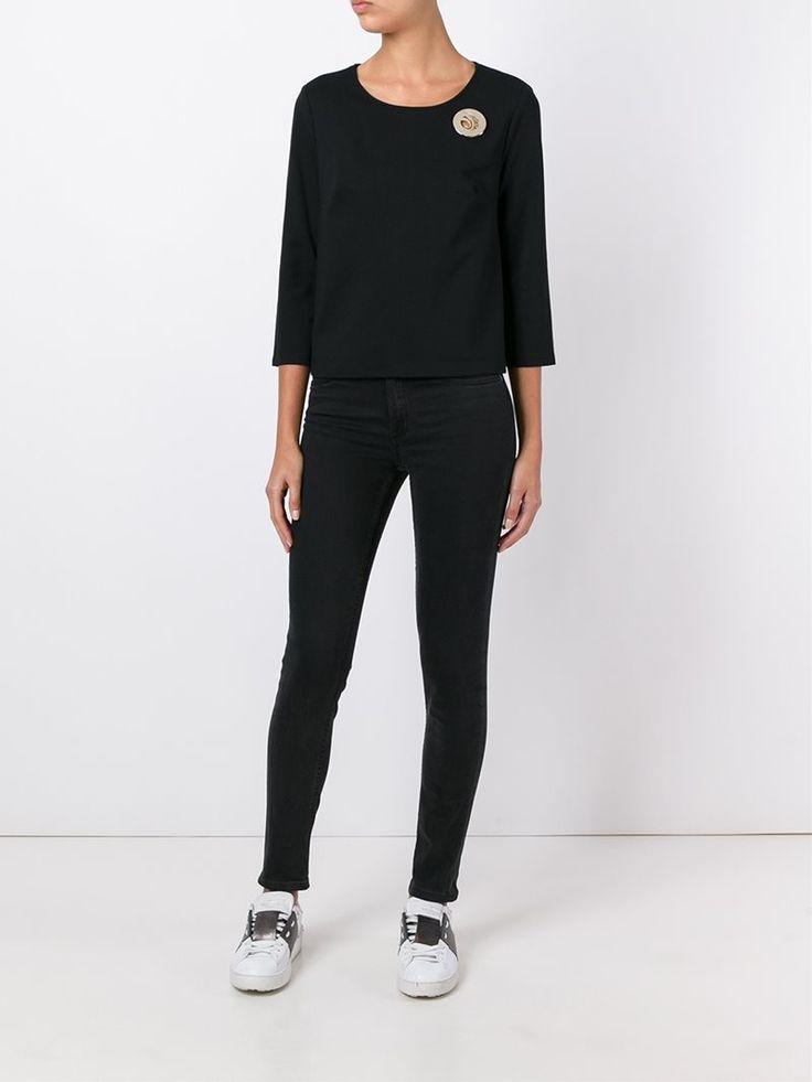 ¡Cómpralo ya!. Versace Jeans Logo Plaque Cropped Sweatshirt. Black cotton blend logo plaque cropped sweatshirt from Versace Jeans. , topcorto, croptops, croptop, croptops, croptop, topcrop, topscrops, cropped, topbailarina, corto, camisolacorta, crop, croppedt-shirt, kurzestop, topcorto, topcourt, topcorto, cortos. Top corto  de mujer color negro de Versace jeans.