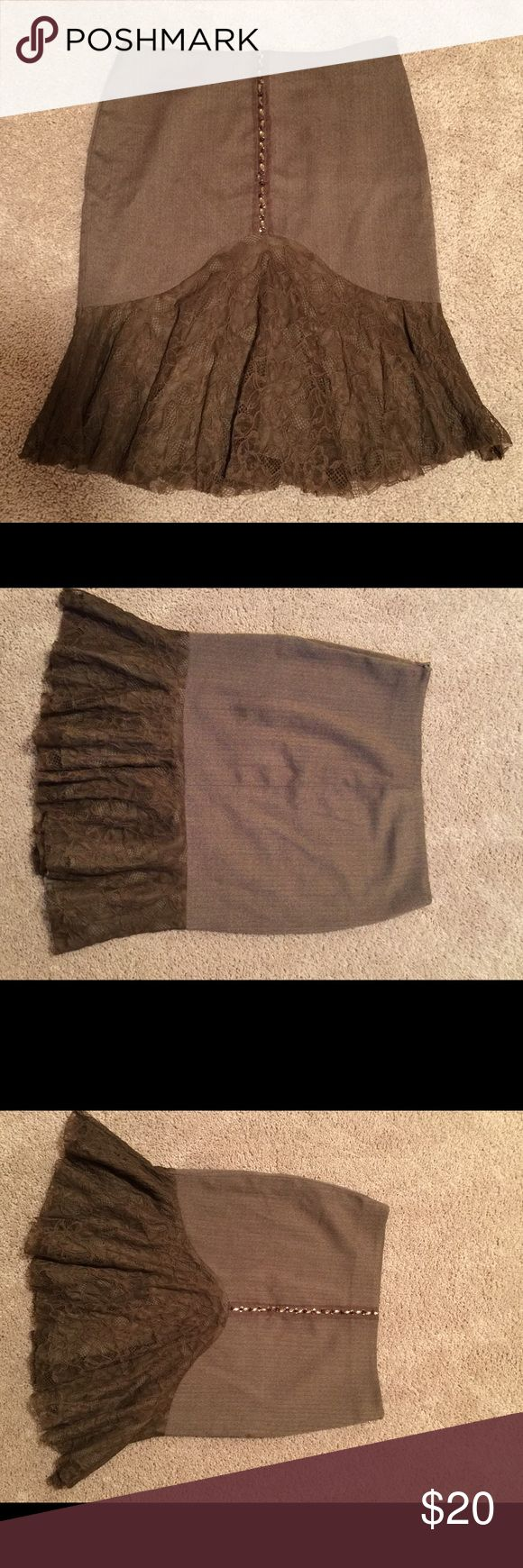 BeBe Brown Pencil Skirt BeBe brown pinstripe pencil skirt. Jewel detail down the front middle. Lace bottom. bebe Skirts Pencil