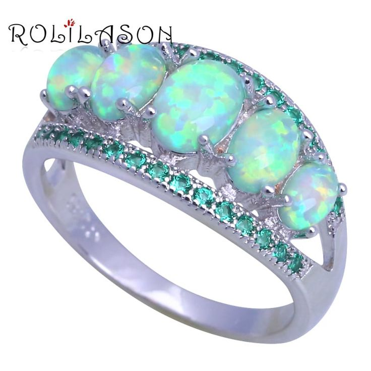 ROLILASON Women's Fire Opal green crystal Jewelry Silver Ring //Price: $11.95 & FREE Shipping //     #love