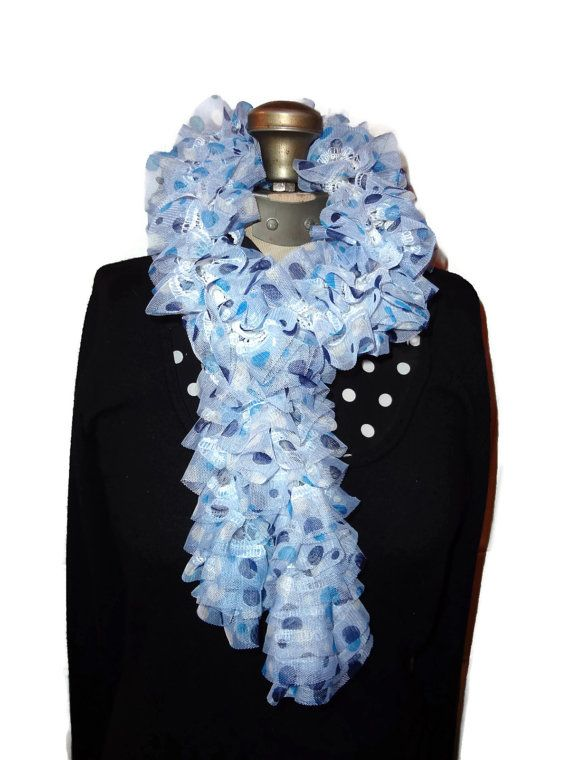 Ruffle Scarf Blue Polka Dot Handmade Knitted by chrysalisjewelrytx, $20.00