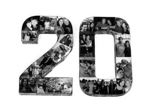 20th Birthday Wedding Anniversary Collage 10th 30th 40th 21st 25th Photo Number Picture Letter Senior Year 2015 Grad Party Graduation 3D
