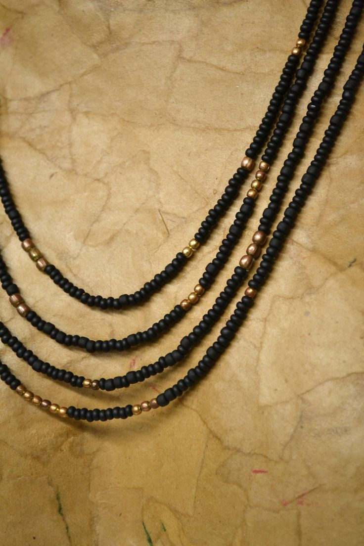 Necklace Multi-Strand - matte black seed beads with brass beads