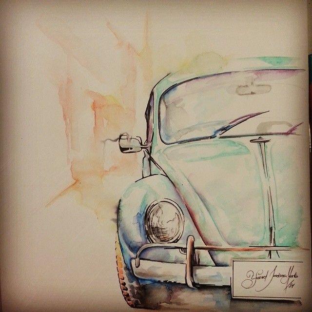 VW color VolksWagen escarabajo Por: Yerard Jimenez Marte  pintura, color, paint, acuarela, Watercolor, carro,,car, coloring